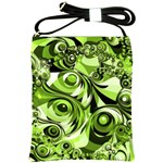 Retro Green Abstract Shoulder Sling Bag Front