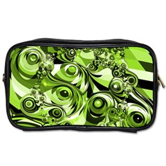Retro Green Abstract Travel Toiletry Bag (two Sides) by StuffOrSomething