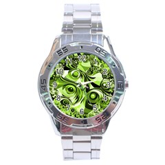 Retro Green Abstract Stainless Steel Watch by StuffOrSomething
