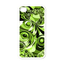 Retro Green Abstract Apple Iphone 4 Case (white) by StuffOrSomething
