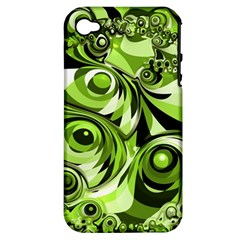 Retro Green Abstract Apple Iphone 4/4s Hardshell Case (pc+silicone) by StuffOrSomething