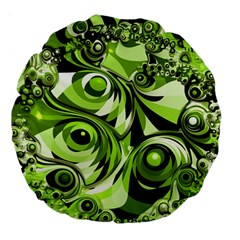 Retro Green Abstract 18  Premium Round Cushion  by StuffOrSomething