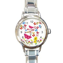 Butterfly Beauty Round Italian Charm Watch by StuffOrSomething