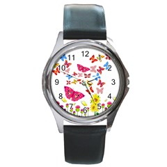 Butterfly Beauty Round Leather Watch (silver Rim) by StuffOrSomething
