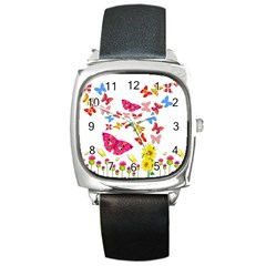 Butterfly Beauty Square Leather Watch by StuffOrSomething