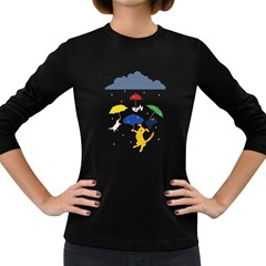 Raining Cats And Dogs Women s Long Sleeve T Shirt (dark Colored)