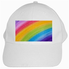 Acrylic Rainbow White Baseball Cap by StuffOrSomething