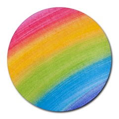 Acrylic Rainbow 8  Mouse Pad (round) by StuffOrSomething