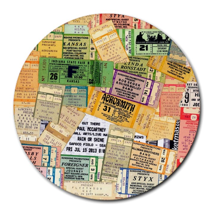 Retro Concert Tickets 8  Mouse Pad (Round)