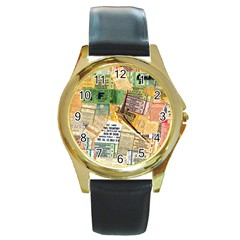 Retro Concert Tickets Round Leather Watch (gold Rim)  by StuffOrSomething