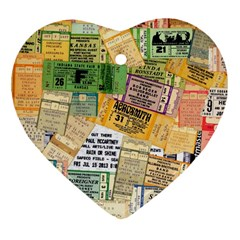 Retro Concert Tickets Heart Ornament (two Sides) by StuffOrSomething
