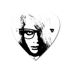 Hipster Zombie Girl Magnet (heart) by chivieridesigns