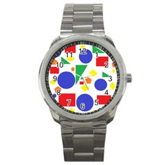Random Geometrics Sport Metal Watch by StuffOrSomething