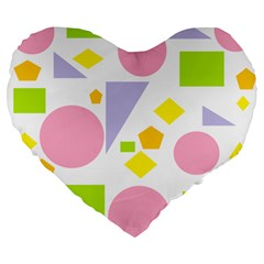 Spring Geometrics 19  Premium Heart Shape Cushion by StuffOrSomething