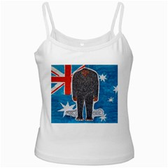 Big Foot H,australia Flag White Spaghetti Top