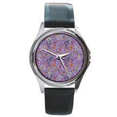 Purple Paisley Round Leather Watch (silver Rim) by StuffOrSomething