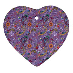 Purple Paisley Heart Ornament