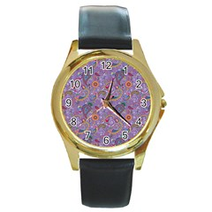 Purple Paisley Round Leather Watch (gold Rim)  by StuffOrSomething