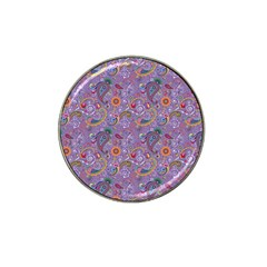 Purple Paisley Golf Ball Marker (for Hat Clip) by StuffOrSomething