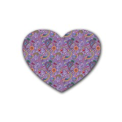 Purple Paisley Drink Coasters 4 Pack (heart)