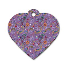 Purple Paisley Dog Tag Heart (one Sided)  by StuffOrSomething