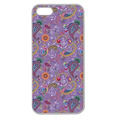 Purple Paisley Apple Seamless Iphone 5 Case (clear) by StuffOrSomething