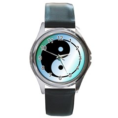 Ying Yang  Round Leather Watch (silver Rim) by Siebenhuehner