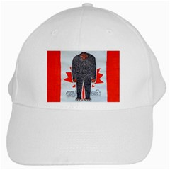 Big Foot H, Canada Flag White Baseball Cap by creationtruth