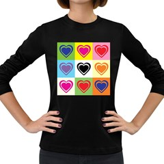 Hearts Women s Long Sleeve T-shirt (dark Colored) by Siebenhuehner