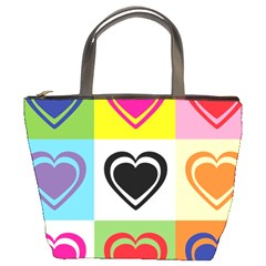 Hearts Bucket Handbag by Siebenhuehner