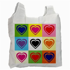 Hearts White Reusable Bag (one Side) by Siebenhuehner