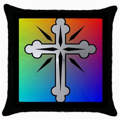 Cross Black Throw Pillow Case by Siebenhuehner