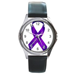 Fibro Awareness Ribbon Round Leather Watch (silver Rim) by FunWithFibro