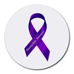 Fibro Awareness Ribbon 8  Mouse Pad (round) by FunWithFibro