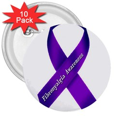 Fibro Awareness Ribbon 3  Button (10 Pack) by FunWithFibro
