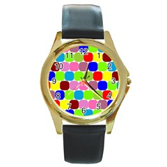 Color Round Leather Watch (gold Rim)  by Siebenhuehner