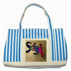 Lizard Blue Striped Tote Bag