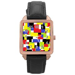 Mod Geometric Rose Gold Leather Watch  by StuffOrSomething