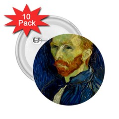 Vincent Van Gogh Self Portrait With Palette 2 25  Button (10 Pack) by MasterpiecesOfArt