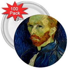 Vincent Van Gogh Self Portrait With Palette 3  Button (100 Pack) by MasterpiecesOfArt