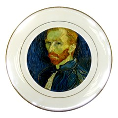 Vincent Van Gogh Self Portrait With Palette Porcelain Display Plate by MasterpiecesOfArt
