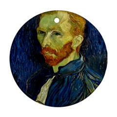 Vincent Van Gogh Self Portrait With Palette Round Ornament (two Sides) by MasterpiecesOfArt