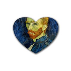 Vincent Van Gogh Self Portrait With Palette Drink Coasters (heart) by MasterpiecesOfArt