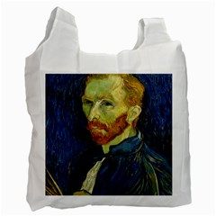 Vincent Van Gogh Self Portrait With Palette White Reusable Bag (two Sides) by MasterpiecesOfArt