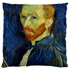 Vincent Van Gogh Self Portrait With Palette Large Cushion Case (two Sided)  by MasterpiecesOfArt