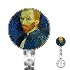 Vincent Van Gogh Self Portrait With Palette Stainless Steel Nurses Watch by MasterpiecesOfArt