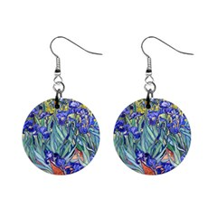 Vincent Van Gogh Irises Mini Button Earrings by MasterpiecesOfArt