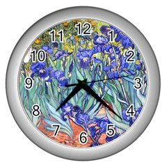 Vincent Van Gogh Irises Wall Clock (silver) by MasterpiecesOfArt