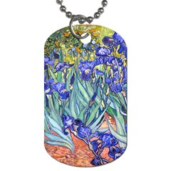 Vincent Van Gogh Irises Dog Tag (two Sided)  by MasterpiecesOfArt