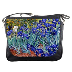 Vincent Van Gogh Irises Messenger Bag by MasterpiecesOfArt